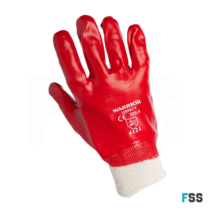 Warrior Red PVC Knit Wrist Glove - Chemical Protect