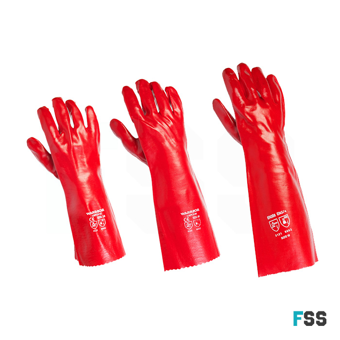 Warrior Red PVC Gauntlet - Chemical Protect