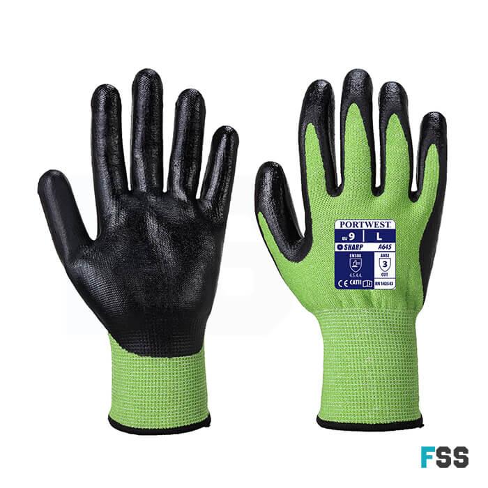 Portwest Green cut 5 glove nitrile foam