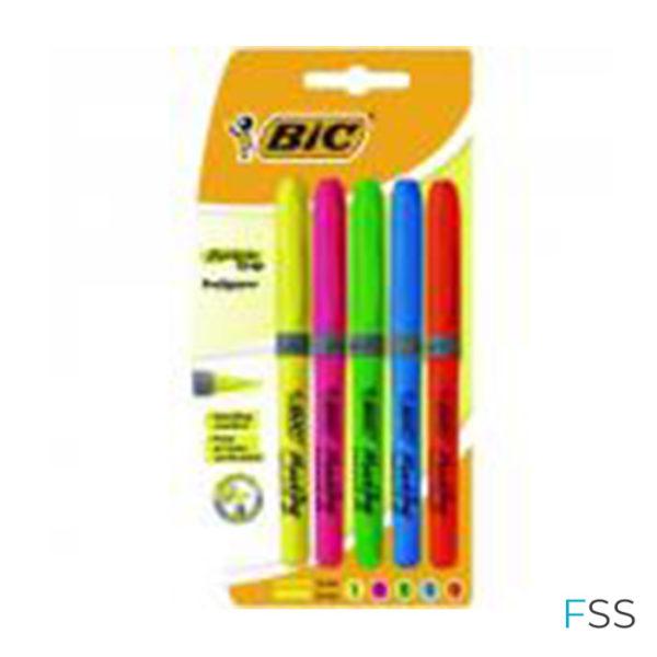 5-x-BIC-Highlighter-Grip-Assorted